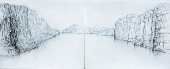 Die ungewöhnlichen Landschaftsstreifen des Zeichners Raffi Kaiser im Freiburger Morat-Institut